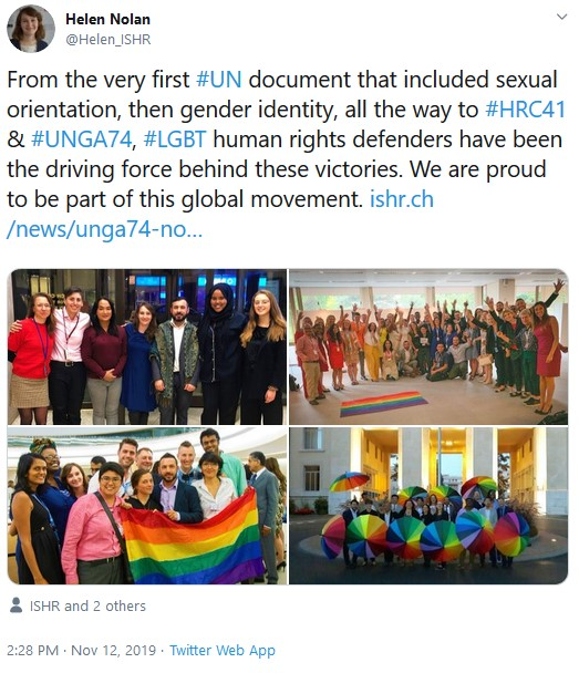 Photos of human rights defenders at the UN celebrating HRC resolutions in 2014, 2016 and 2019