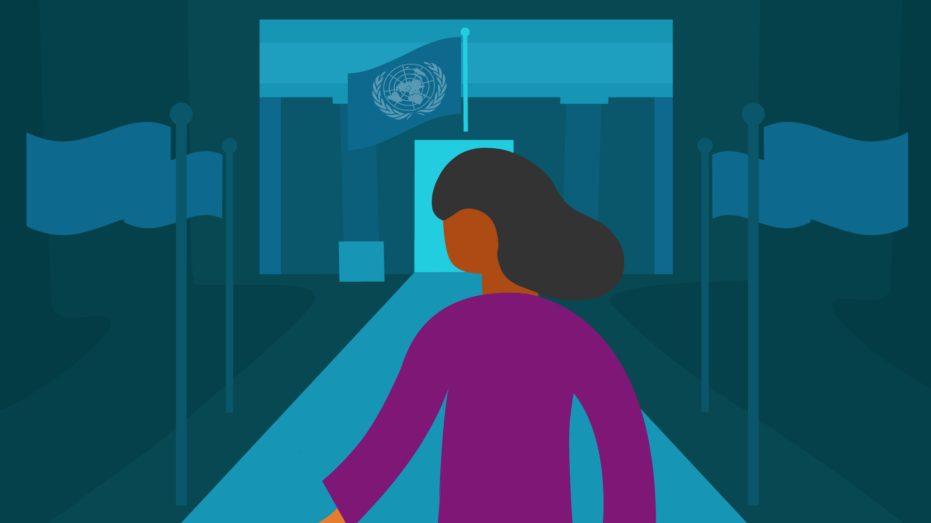 Persona dirigiéndose al edificio de la ONU en Ginebra